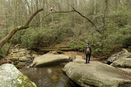 Man Hiking In Table Rock State Park South Carolina Stock Photo