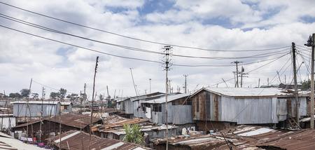 Rooftop view of Kibera, Africa's largest urban slum Stok Fotoğraf