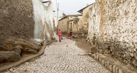 Colorful walls and cobblestones of Harar, Ethiopia