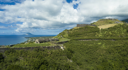 Aerial panorama of Brimstone Fortress on the island of St Kitts.