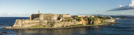 Wide panorama of the El Morro Fortress in San Juan, Puerto Rico.