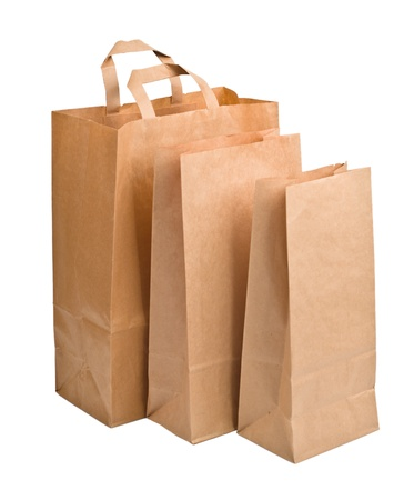 Brown empty Paper Bags, isolated on white background