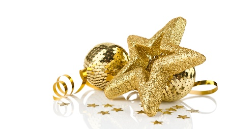 Bright golden christmas decoration with balls and stars with reflection isolated on white background
