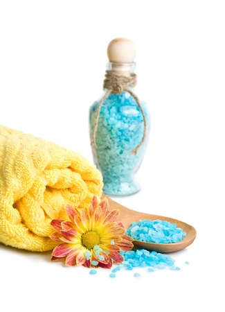 Towel, Blue bath salt and flower, isolated on a white background