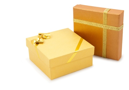 Two golden gift box-packaging