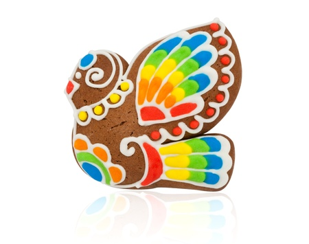 Gingerbread in the form of a bird on a white background Stock Photo