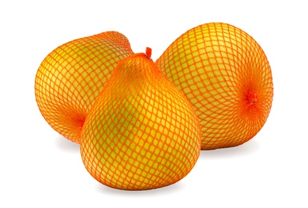 Yellow citrus fruit pomelo in the package, isolated on white photo