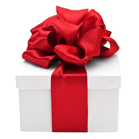 White gift box with a red bow, isolated on white Stock Photo