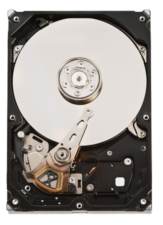 Open hard disk drive, isolated on white background