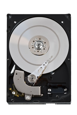 Open hard disk drive, isolated on white background photo