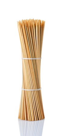 Kebab Bamboo skewers, isolated on a white background Stock Photo