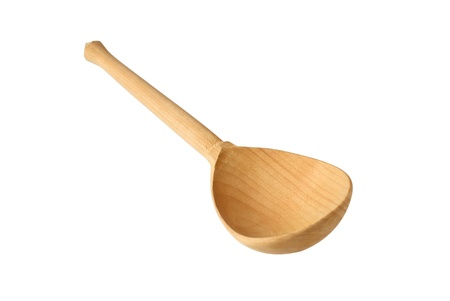 Wooden spoon, isolated on white background