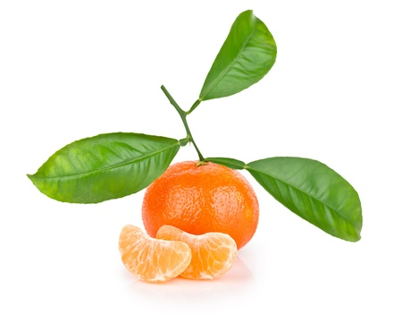 Ripe tangerine with leaves isolated on white background  Stock Photo