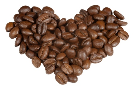 A love heart made from coffe beans Stock Photo