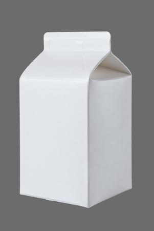 karton: Box za litr mleka, pół, odizolowane na szarym tle