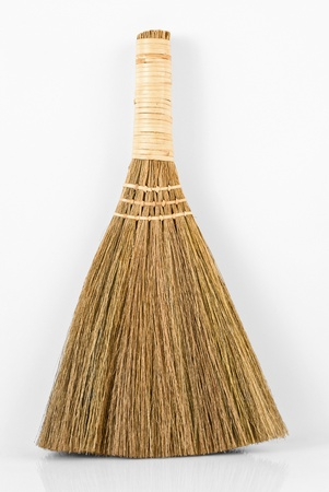 Broom for sweeping, on white background Stock Photo