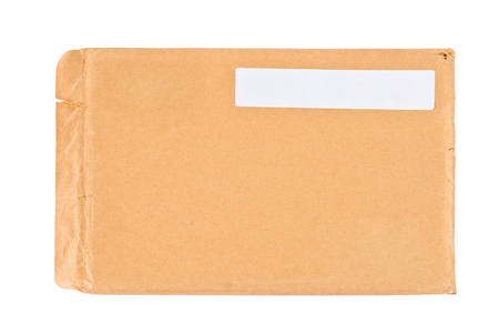 Used postal envelope, isolated on white background photo