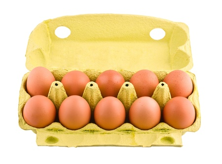 Ten eggs in package, isolated on white background photo