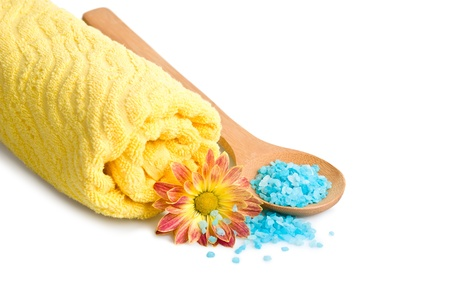 Towel, Blue bath salt and flower, isolated on a white background photo