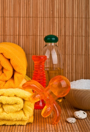 Beauty Massagers, towels, sea salt and aromatic oil photo