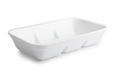 Empty plastic food polystyrene tray with clipping path photo