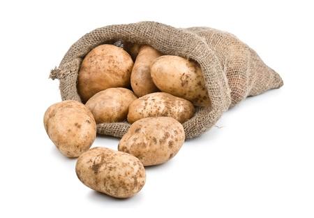 Raw Harvest potatoes in burlap sack isolated on white background