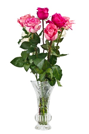 Bunch of pink roses in vase isolated on white backgroung Stock Photo