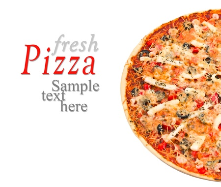 entire: Delicious pizza with seafood isolated on white background with sample text