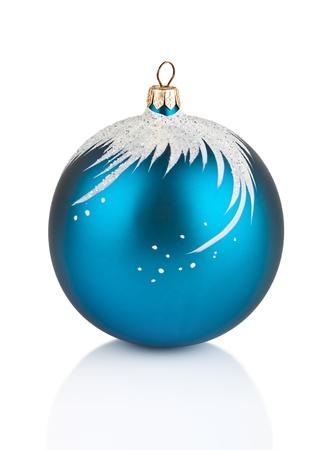 Blue Christmas decoration ball isolated on white background