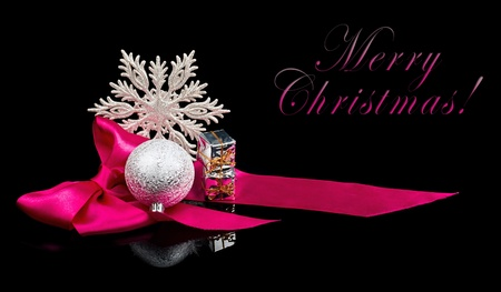 Christmas Decoration on black background with sample text photo