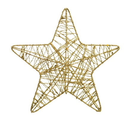 Gold five pointed star christmas decoration isolated on white background Stock Photo