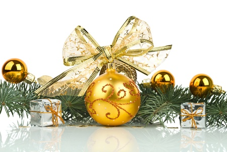 Christmas decorations isolated on white background  photo
