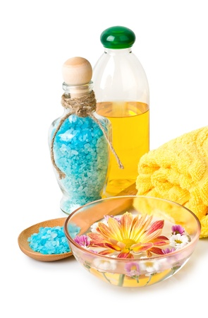 Towel, Blue bath salt and flowers, isolated on a white background photo