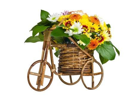 Bicycle With Flowers isolated on white background photo