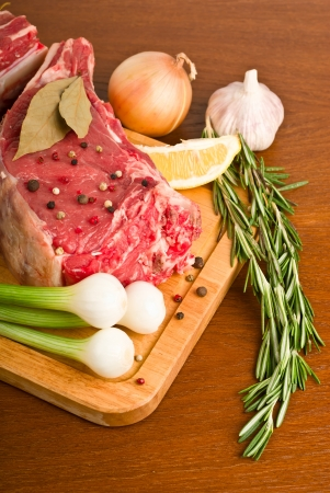 raw meat with rosemary, onion, garlic, peppercorn, lemon and oil Stock Photo - 14255720