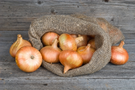 red onion: Onions on burlap sack on a wooden board