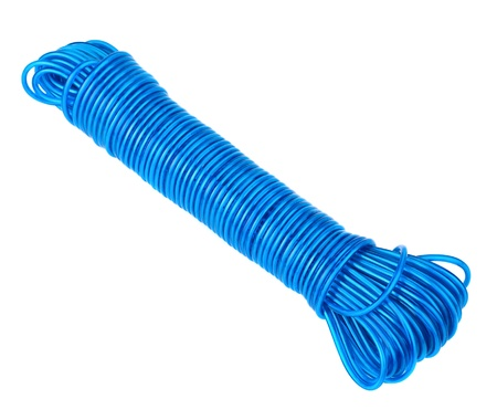 Hank of blue cable isolated on white background Stock Photo