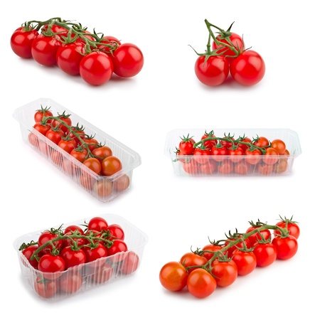 Set of red cherry tomatoes isolated on white background photo