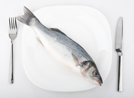Fresh fish on plate isolated on white Stock Photo - 19742690