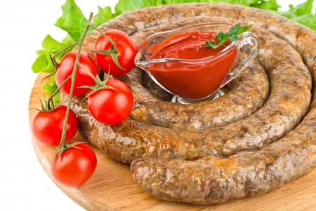 homemade pork sausage, spiral baked