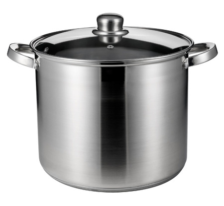 stainless steel pot: Stainless steel pot isolated on white with clipping path