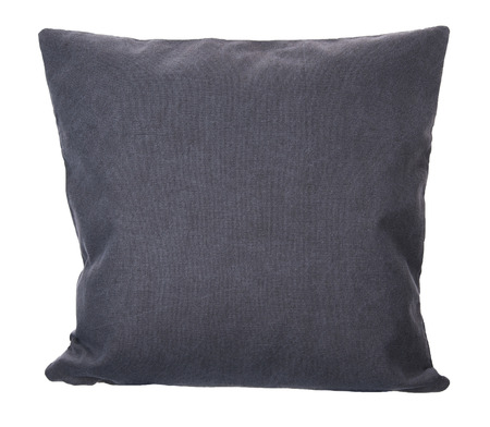Close-up of grey pillow isolated on white background