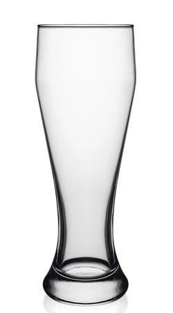 Empty beer glass on white background. With clipping path