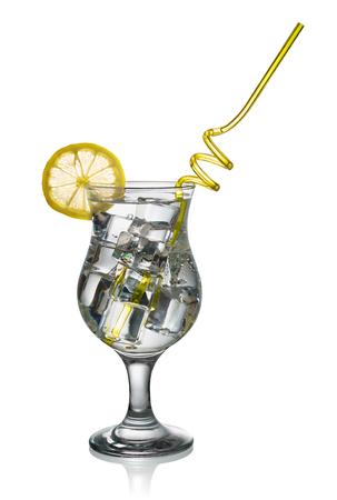 include: Cocktail with ice and lemon slice isolated on white background include clipping path