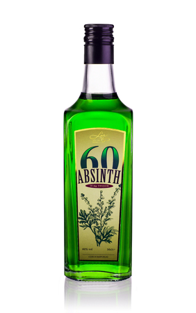 intoxicate: Lor Special drinks: One bottle of Sixty Absinthe alc. 60% 500ml. 10 mg thujon. Produced by Lor Special drinks, Chech Republic. Editorial
