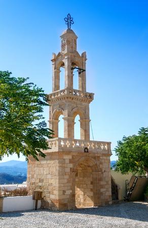 Belfry of the Dormition of Theotokos Church of Asklipeiou, island of Rhodes in Greece