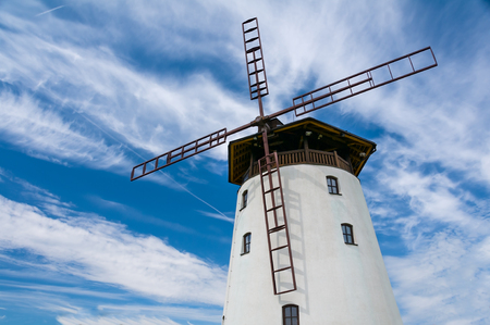Traditional old windmill building in Bukovany, southern Moravia, Czech republic