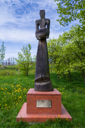 Bukovany, Southern Moravia, Czech republic - May 2, 2017: Monument Saint Vrbanvs. Old wooden figure in Bukovany, southern Moravia, Czech republic Editorial