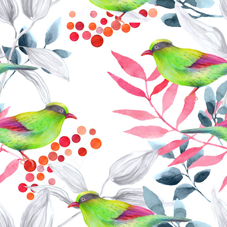 Watercolor seamless pattern with birds. Illustration