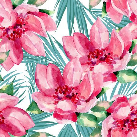 Watercolor seamless pattern of exotic flowers.Tropical flowers and palm leaves Ilustrace